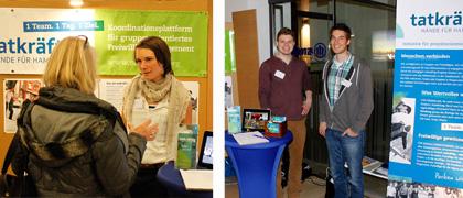 Miriam, Kai und Ollie am Stand von tatkräftig bei der Aktivoli-Freiwilligenbörse in der Hamburger Handelskammer
