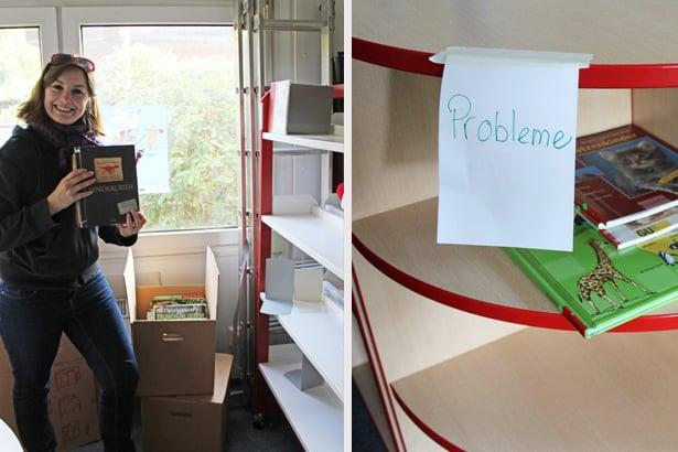 Freiwillige von tatkräftig helfen bei der Inventur und beim Einpacken der Bücher