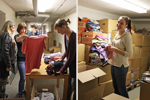 Kleider sortieren für Flüchtlinge