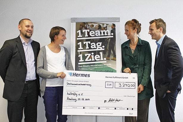 Spende für tatkräftig von Hermes