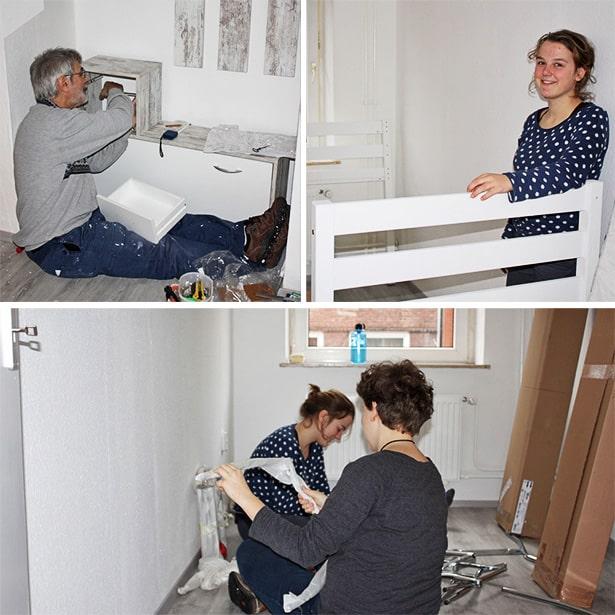 Ein Team aus 3 Freiwilligen hilft junger alleinerziehender Mutter bei Renovierung
