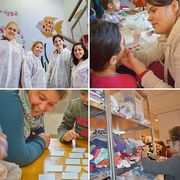 Freiwillige und Flüchtlinge zusammen an vier Stationen