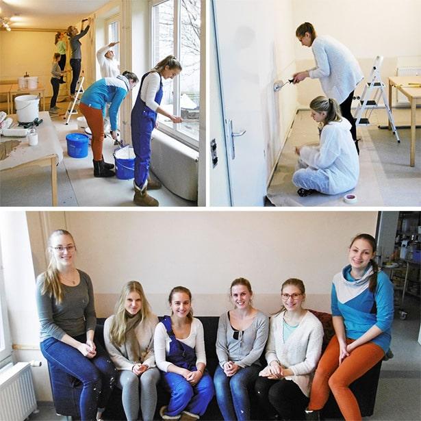 Freiwilligenteam bei Renovierungsaktion in der Tagesstätte Neßdeich