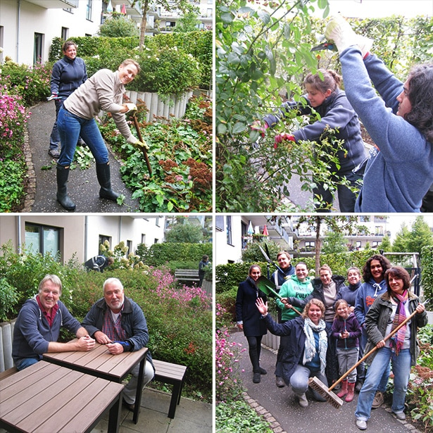 Gemeinsame Gartenarbeit in der Demenz-WG mit IKEA-Mitarbeitern