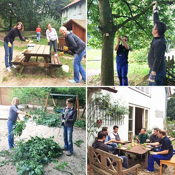 Sieben tesa-Mitarbeiter bei einem Garteneinsatz in der KITA Hohenbuchen