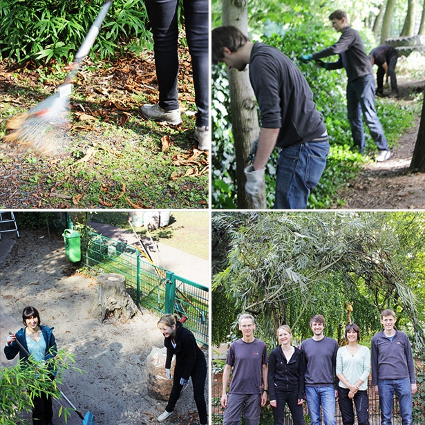 Fünf tesa-Mitarbeiter bei einem Garteneinsatz im Kinderhaus Rahlstedt