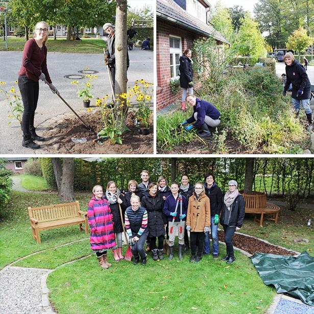 Freiwillige von Gruner + Jahr bei einem Garteneinsatz auf dem Vogthof