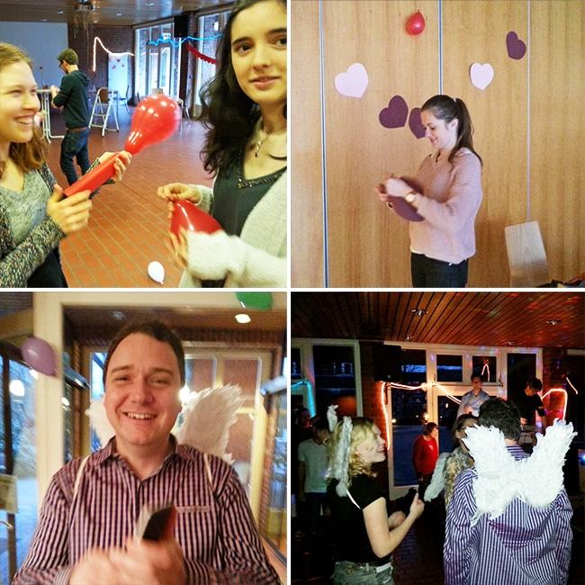 Sechs tatkräftig-Freiwillige engagieren sich als Liebesboten auf einer Flirtparty von Leben mit Behinderung