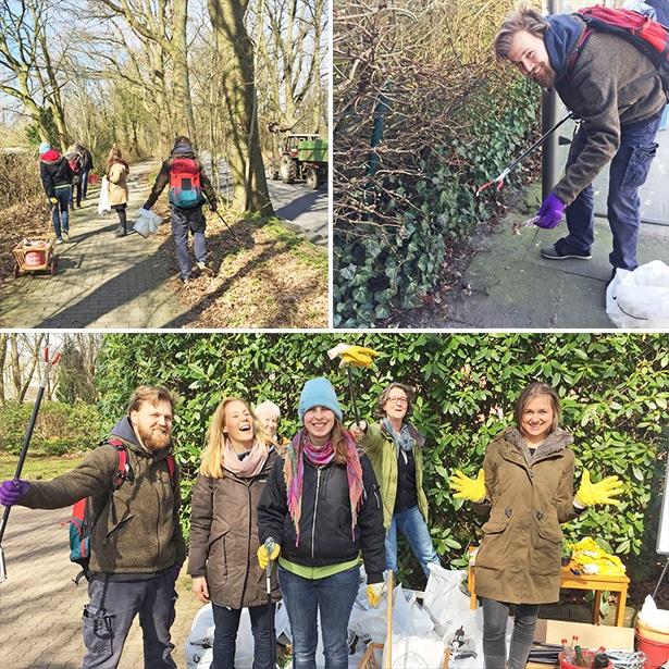 Gemeinsames Engagement von Freiwilligen mit und ohne Behinderung bei der großen Müllsammelaktion Hamburg räumt auf!