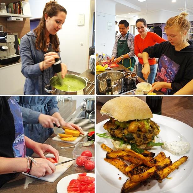 Sechs tatkräftig-Freiwillige gestalten für Eltern kranker Kinder einen Kochabend im Ronald Mc Donald Haus Altona