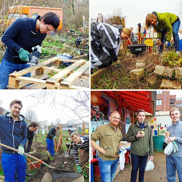 Ein Team von 25 Mitarbeitern der Sasol Germany GmbH engagiert sich im Kreativgarten Wilhelmsburg
