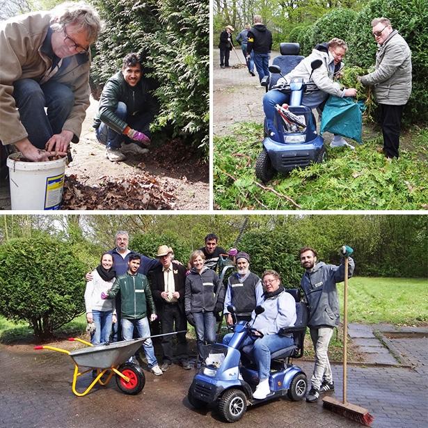 Gartenpflege und Inklusion: Fünf Freiwillige befreien den Garten des Club 68 gemeinsam mit einigen Mitgliedern vom Winterschlaf.