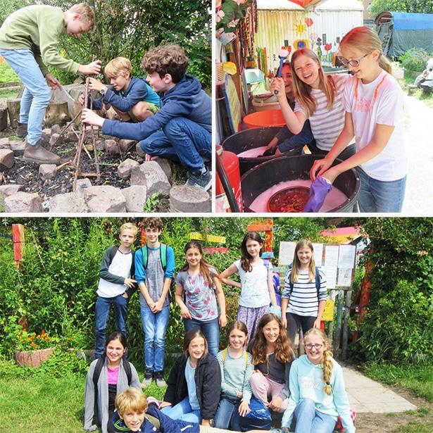 Schülerprojekte: Schülerinnen und Schüler bei ihrer Projektwoche im Kunstgarten Wilhelmsburg