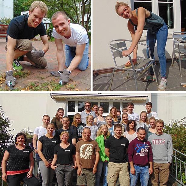 20 Freiwillige der Firma Henkel engagieren sich tatkräftig im Haus Trillup