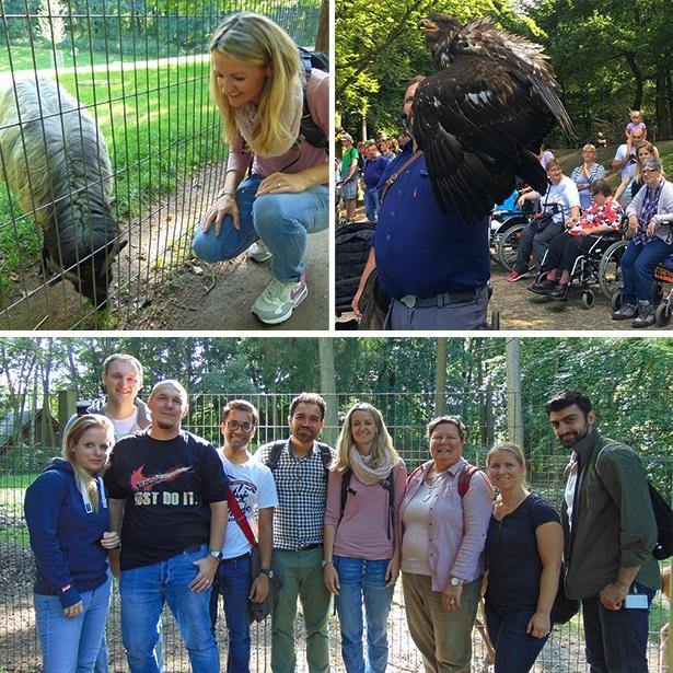 9 Freiwillige von Barclaycard unternehmen mit Menschen mit Behinderungen einen Ausflug in den Wildpark Schwarze Berge
