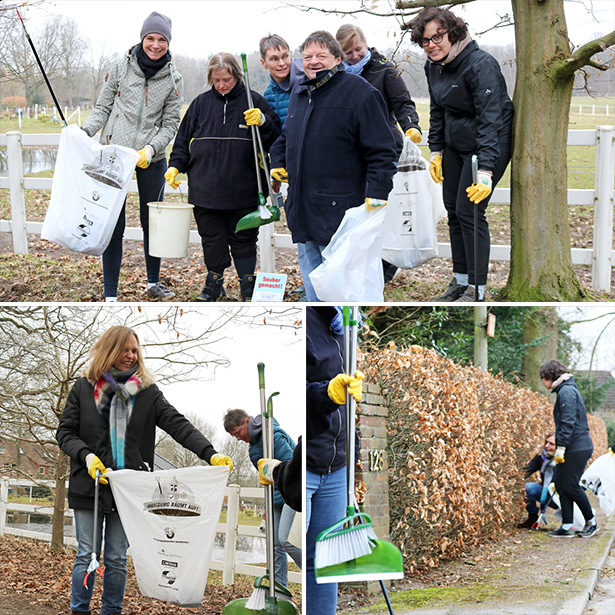 Bewohner des Hilda Heinemann Haus und tatkräftig Freiwillige bei der Aktion Hamburg räumt auf