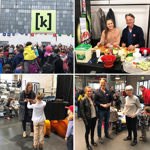 Vier Freiwillige von tatkräftig helfen mit beim Klangfest von KinderKinder